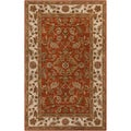 Hand-tufted Nala Orange Classic Floral Border Rug (4' x 6')