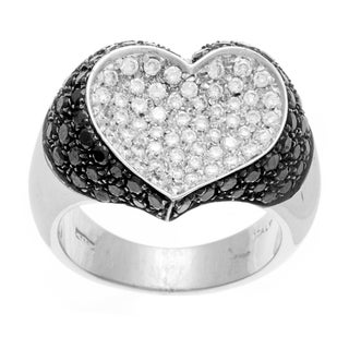 18k Gold 2 3/4ct TDW Black and White Diamond Heart Estate Ring (G-H, SI1-SI2)