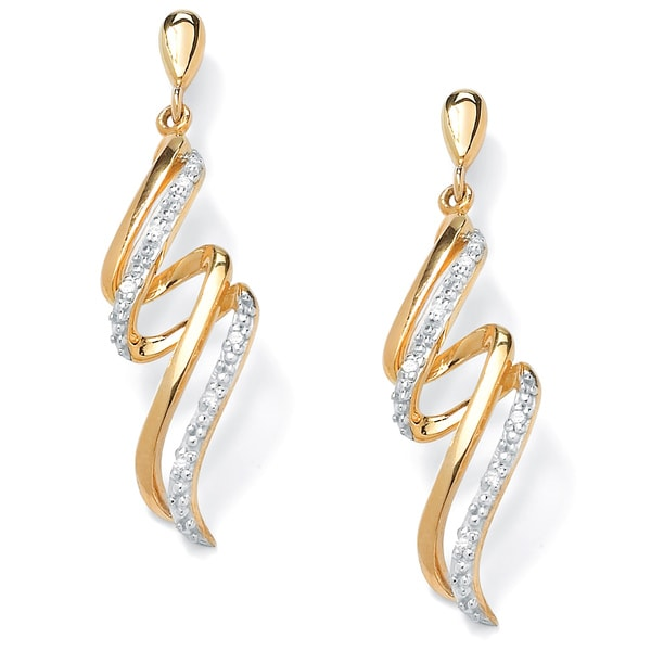 PalmBeach Gold over Silver Diamond Accent Ribbon Dangle Earrings Overstock