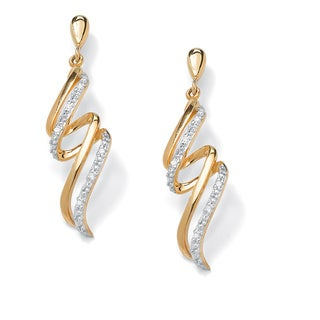 Diamond Accent Curled Ribbon Drop Earrings in 18k Gold over .925 Sterling Silver