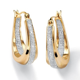 Isabella Collection Diamond Accent Two Tone Hoop Earrings