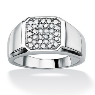 Isabella Collection Platinum over Silver Men's 1/5ct TDW Diamond Ring (H-I, I2-I3)