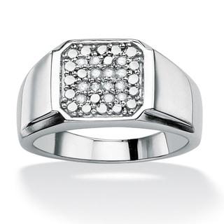PalmBeach Platinum over Silver Men's 1/5ct TDW Diamond Ring (H-I, I2-I3)