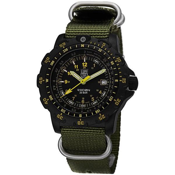 Luminox Men's A.8825.KM 'Recon Sea' Black Dial Green Nylon Watch