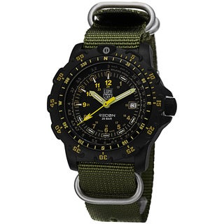 Luminox Men's A.8825.KM 'Recon Sea' Black Dial Green Nylon Watch