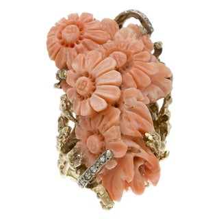 14k Gold Carved Coral and 1/5ct TDW Diamond Estate Ring (J-K, SI1-SI2)