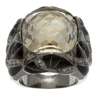 Michelle Monroe Silvertone Yellow Ring Made with SWAROVSKI Elements