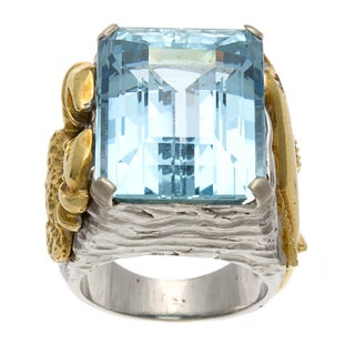 18k Two-tone Gold Aquamarine Marine-themed Estate Ring