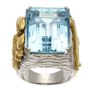 Pre-owned 18k Two-tone Gold Aquamarine Marine-themed Estate Ring