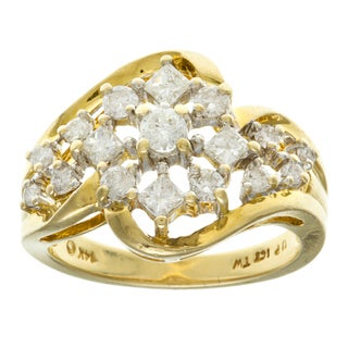 14k Yellow Gold 1ct TDW Diamond Cluster Ring (I-J, SI1-SI2)