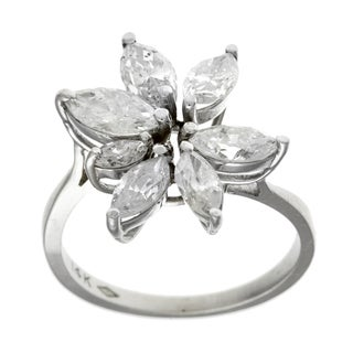 14k White Gold 1 1/2ct TDW Diamond Cluster Estate Ring (I-J, I1-I2)