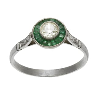 Platinum 1/4ct TDW Diamond and Emerald Estate Ring (L-M, SI1-SI2)