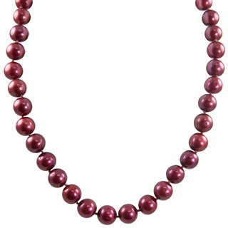 Sterling Silver Dyed Cranberry Freshwater Pearl Necklace (9.5-10.5 mm)