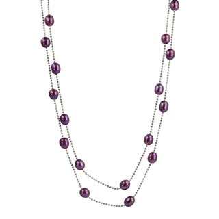 Pearls For You Silver Dyed Plum FW Rice Pearl Necklace (7-7.75 mm)