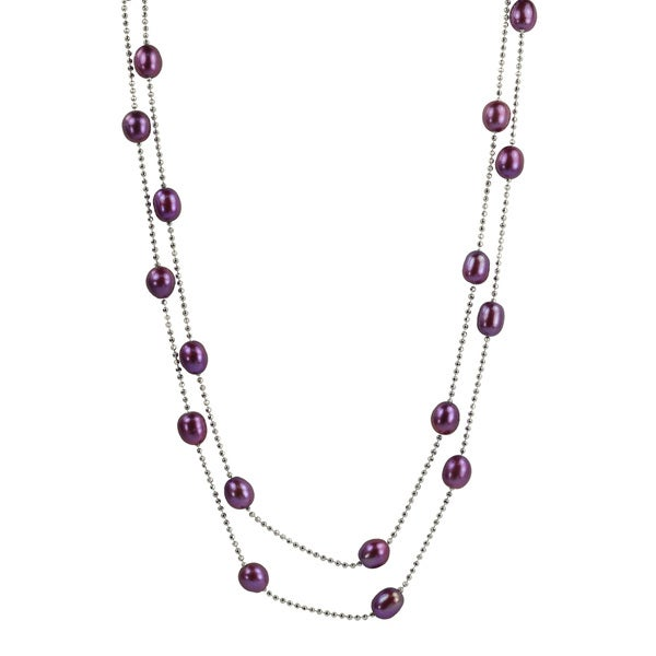 Pearls For You Silver Dyed Plum FW Rice Pearl Necklace (7-7.75 mm) 11130932