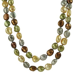 Pearls For You Silver Dark Multi-colored FW Pearl Necklace (10-11 mm)