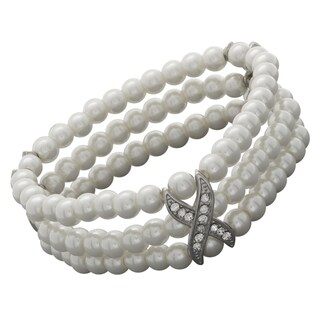 NEXTE Jewelry Silvertone Freshwater Pearl and Rhinestone Bracelet (6 mm)