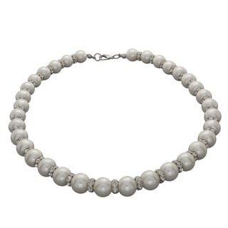 NEXTE Jewelry Silvertone FW Pearl and Rhinestone Choker (10 mm)