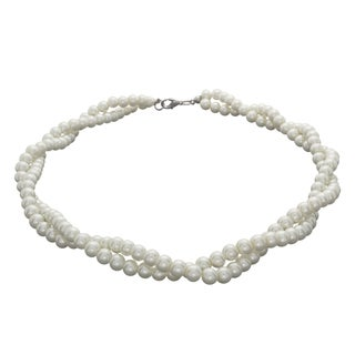 NEXTE Jewelry Silvertone FW Pearl Braided Double-strand Choker (6 mm)