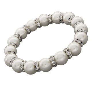 NEXTE Jewelry Silvertone FW Pearl and Rhinestone Bracelet (10 mm)