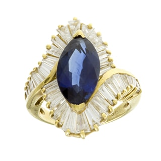 18k Gold Sapphire and 3 1/2ct TDW Diamond Ballerina Estate Ring (G-H, VS1-VS2)