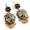 Sweet Romance Dragonfly Vintage Green Glass Earrings