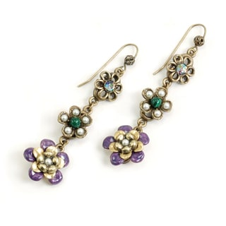 Sweet Romance Goldtone Glass and Crystal String of Flowers Earrings