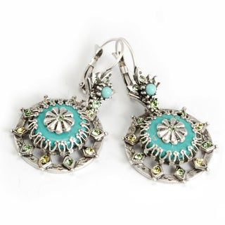 Sweet Romance Turquoise Sun Medallion Earrings
