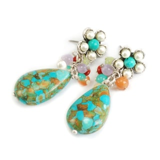 Sweet Romance Turquoise Teardrop Cluster Earrings