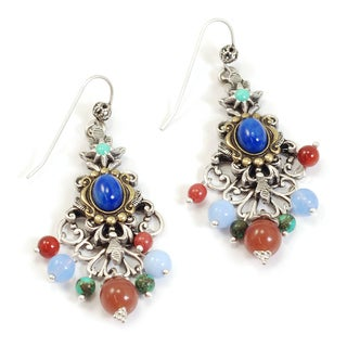 Sweet Romance Two-tone Filigree Glass Bead Earrings