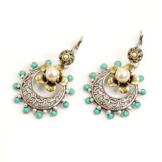 Sweet Romance Two-tone Turquoise Enamel Old Taxco Earrings
