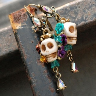 Sweet Romance Colorful Skull and Crystal Teardrop Earrings