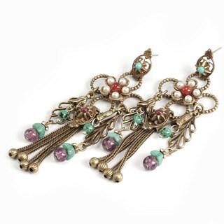 Sweet Romance Bronzetone Hopi Floral Tassel Earrings