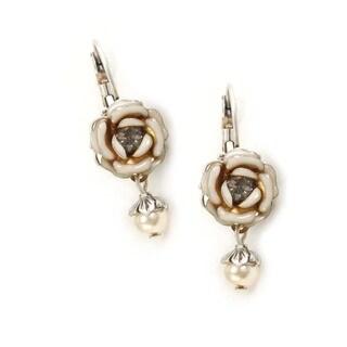 Sweet Romance Silvertone Ivory Tea Rose Earrings