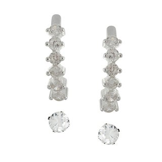 Sunstone Sterling Silver Cubic Zirconia Stud and Half-hoop Earring Set