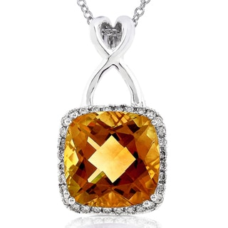 Annello 14k White Gold Orange Citrine and 1/4 ct TDW Diamond Pendant (H-I, I1-I2)