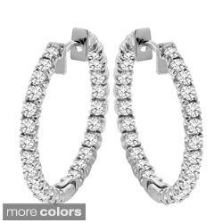 14k Gold 2 1/2ct TDW Diamond Inside-out Hoop Earrings (F-G, SI1-SI2)