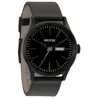 Nixon Men's Sentry All Black Leather Strap Watch