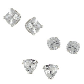 Sunstone Sterling Silver Cubic Zirconia 3-pair Stud Earring Set