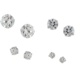 Sunstone Sterling Silver Cubic Zirconia 4-pair Stud Earring Set