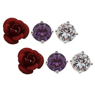 Sunstone Sterling Silver CZ 3-pair Rose and Stud Earring Set