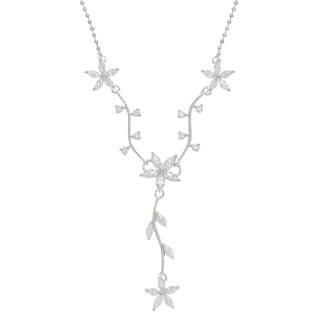 Sunstone Sterling Silver Vine Necklace Made with SWAROVSKI ZIRCONIA