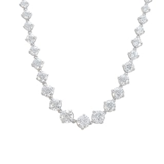 Sunstone Sterling Silver Graduated Necklace made with Swarovski Zirconia with Gift Box