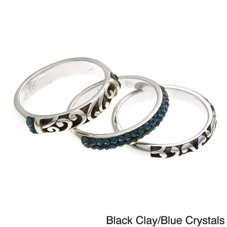 Sunstone Silver Crystal and Bali Filigree 3-piece Ring Set