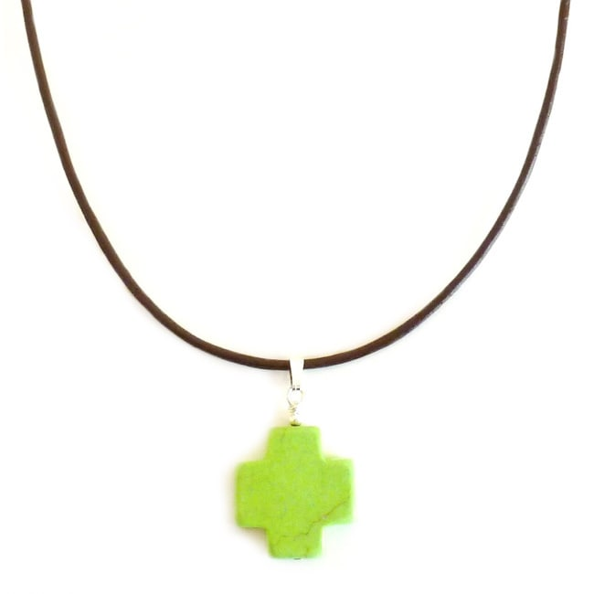 Overstock.com Lime Green Turquoise Cross Leather Necklace at Sears.com