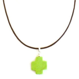 Lime Green Turquoise Cross Leather Necklace