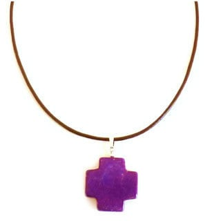 Purple Turquoise Cross On Leather Necklace