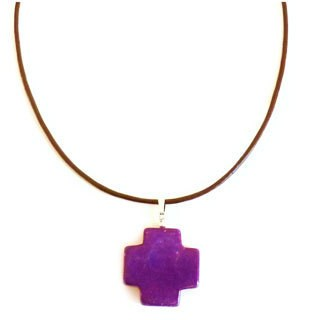 Every Morning Design Purple Turquoise Cross On Leather Necklace