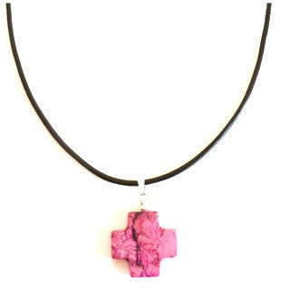 Every Morning Design Pink Turquoise Cross On Leather Necklace