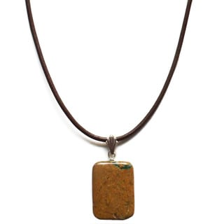 Every Morning Design Verdite Pillow Bead On Leather Necklace